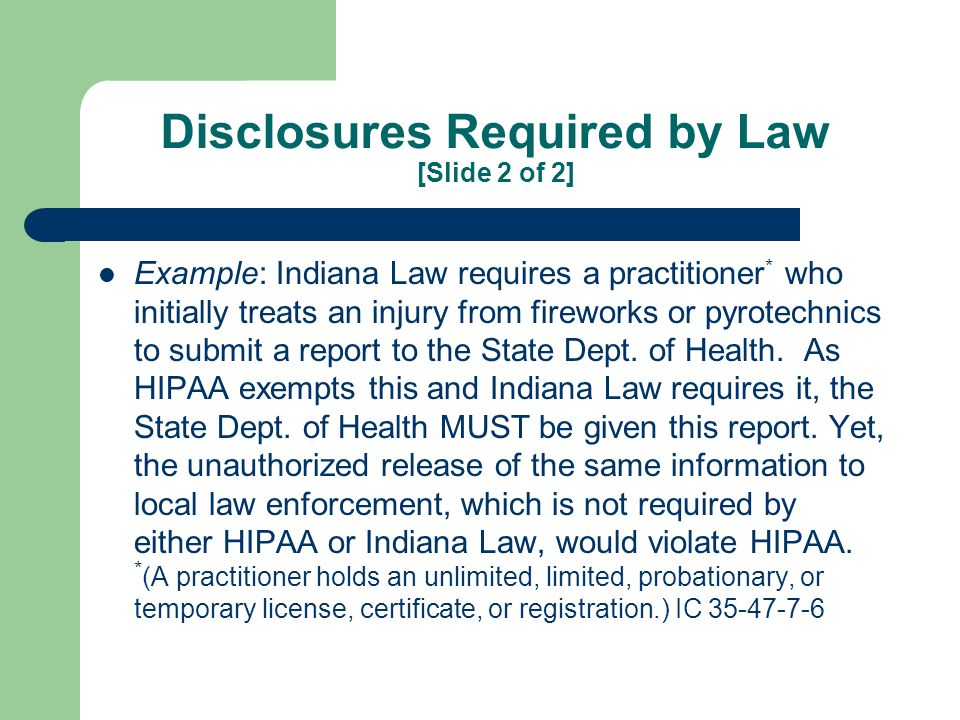 Public Health Activities Disclosures to public health authorities authorized by State Law to receive that PHI This SPECIFICALLY ALLOWS sending run report data to SEMA or NFIRS This also ALLOWS an EMS provider who was exposed to blood or bodily fluids to request notification if the patient has a communicable disease.