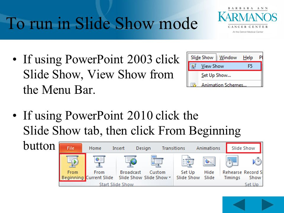 To run in Slide Show mode If using PowerPoint 2003 click Slide Show, View Show from the Menu Bar.