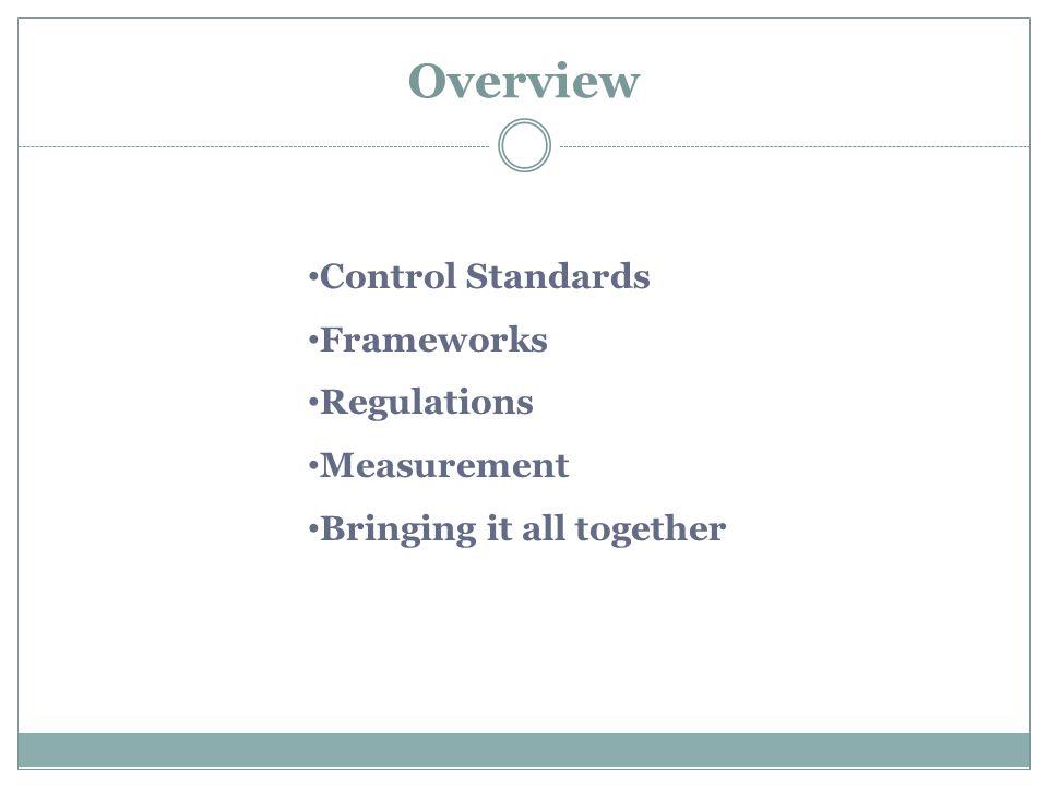 Overview Control Standards Frameworks Regulations Measurement Bringing it all together