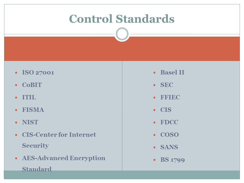 ISO 27001 CoBIT ITIL FISMA NIST CIS-Center for Internet Security AES-Advanced Encryption Standard Basel II SEC FFIEC CIS FDCC COSO SANS BS 1799 Control Standards