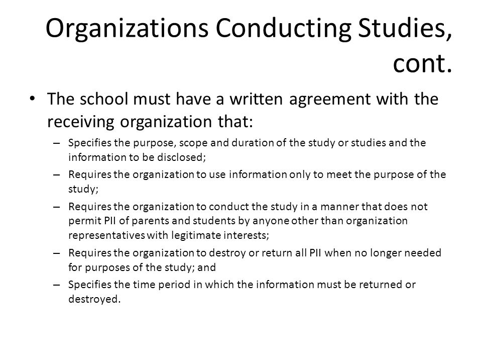 Organizations Conducting Studies, cont.
