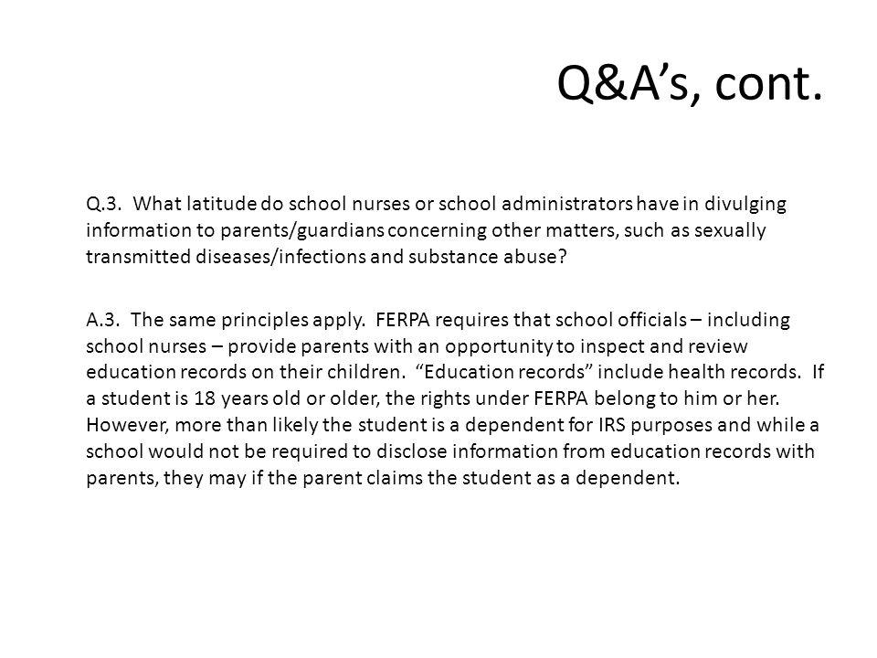 Q&A's, cont. Q.3.