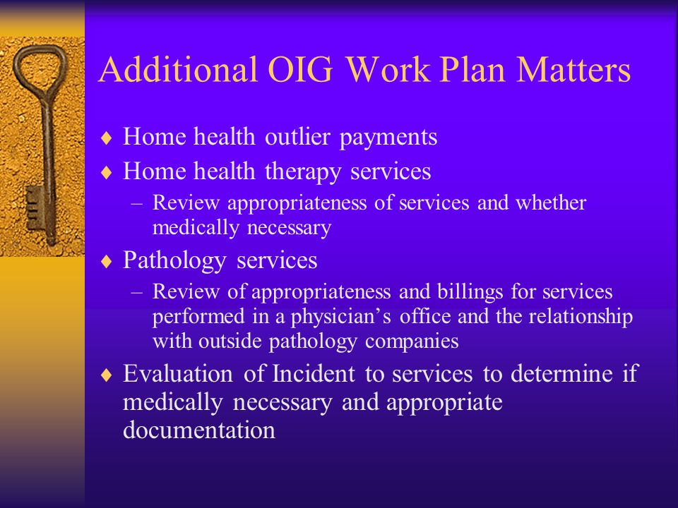 Additional OIG Work Plan Matters  Home health outlier payments  Home health therapy services –Review appropriateness of services and whether medically necessary  Pathology services –Review of appropriateness and billings for services performed in a physician's office and the relationship with outside pathology companies  Evaluation of Incident to services to determine if medically necessary and appropriate documentation
