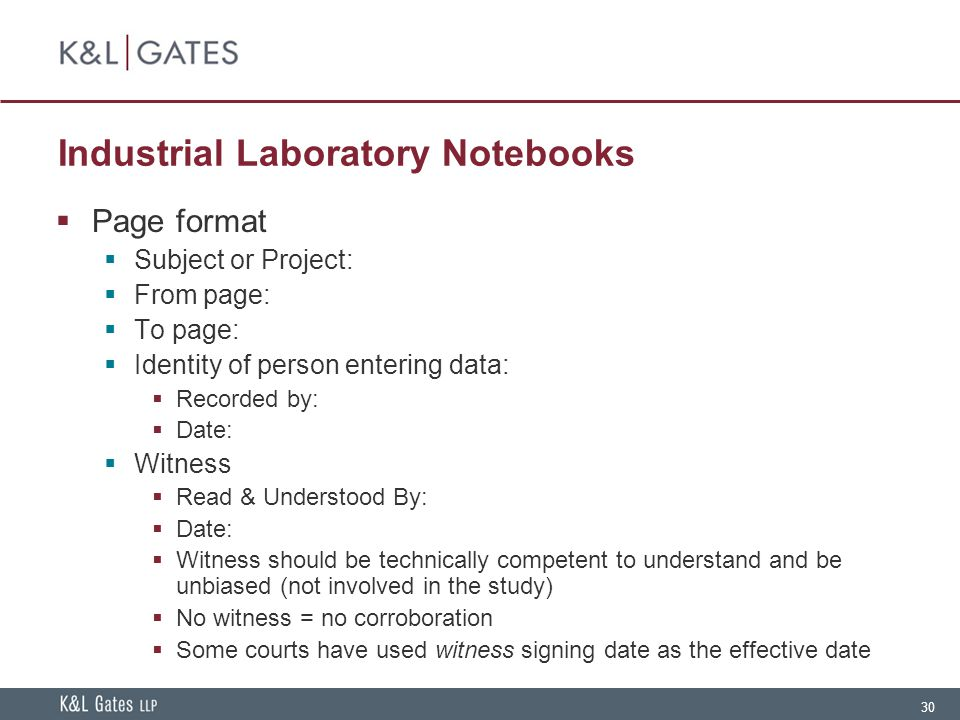 30 Industrial Laboratory Notebooks  Page format  Subject or Project:  From page:  To page:  Identity of person entering data:  Recorded by:  Da