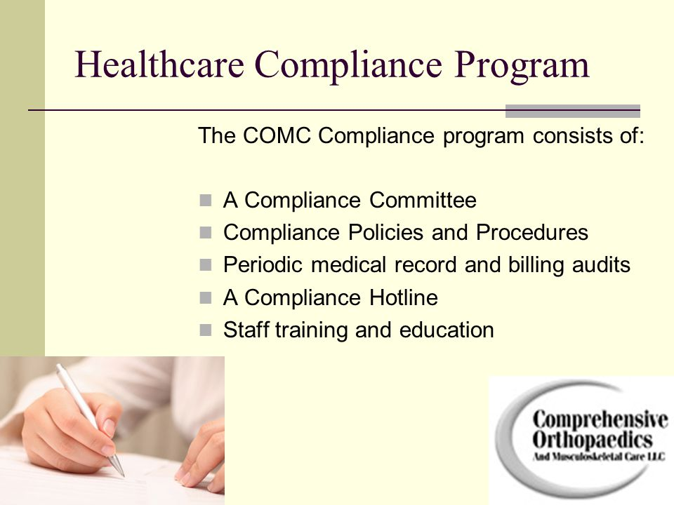Notice of Privacy Practices COMC is required by law to: To provide patients with a notice in plain language of its privacy practices, including the uses or disclosures COMC may make of the individual's information and the individual's rights with respect to that information.