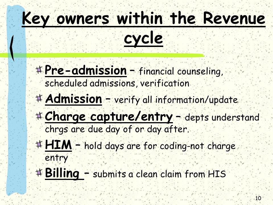 10 Key owners within the Revenue cycle Pre-admission – financial counseling, scheduled admissions, verification Admission – verify all information/upd