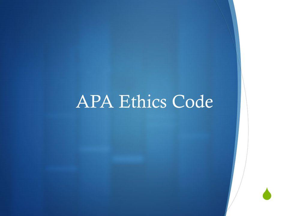  APA Ethics Code