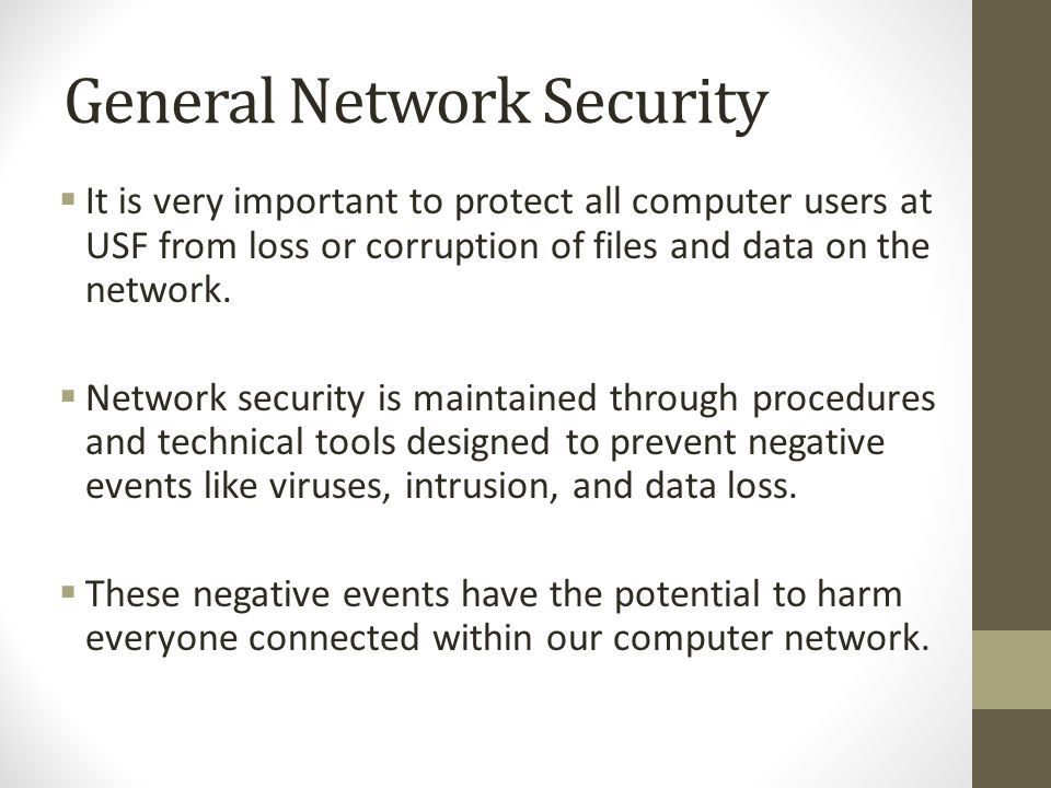 General Network Security  It is very important to protect all computer users at USF from loss or corruption of files and data on the network.