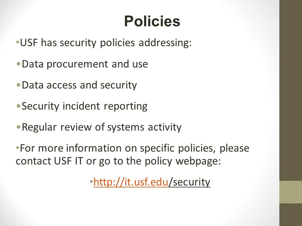 USF has security policies addressing: Data procurement and use Data access and security Security incident reporting Regular review of systems activity For more information on specific policies, please contact USF IT or go to the policy webpage: http://it.usf.edu/security http://it.usf.edu Policies