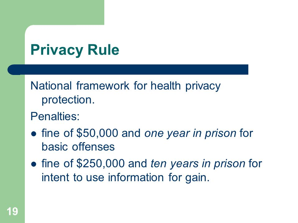 19 Privacy Rule National framework for health privacy protection.