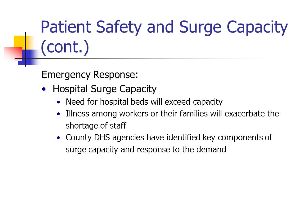 Patient Safety and Surge Capacity (cont.) Telemedicine Consider telemedicine capability and privileges so physicians not required to attend hospital Hospital Admissions May need to cancel elective admissions during triage phase Use non-acute beds for acute patients Early discharge of patients