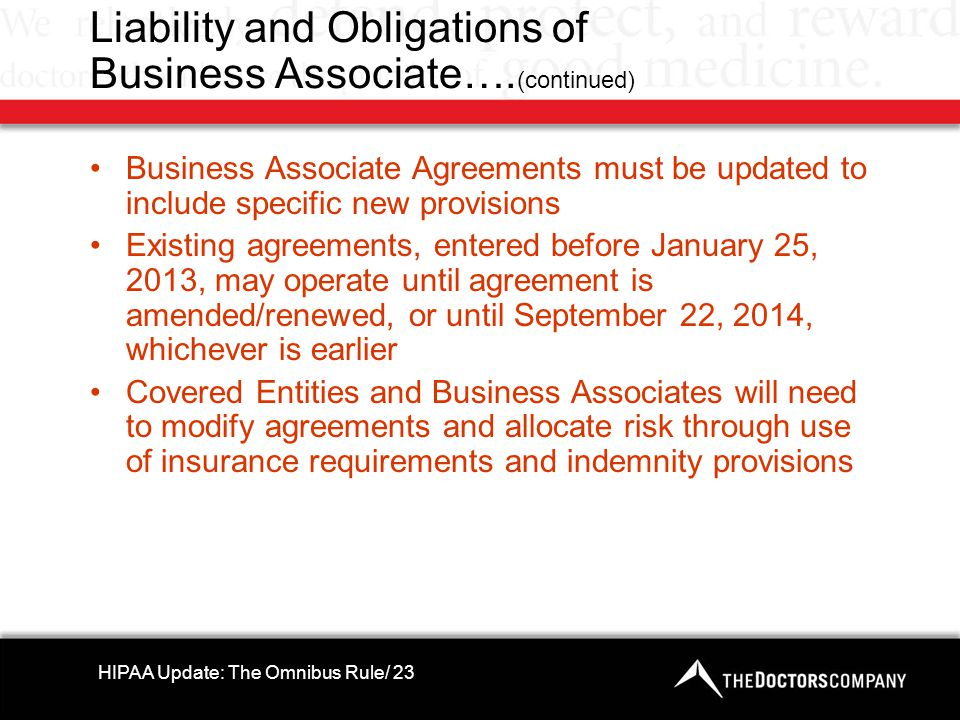 Liability and Obligations of Business Associate….