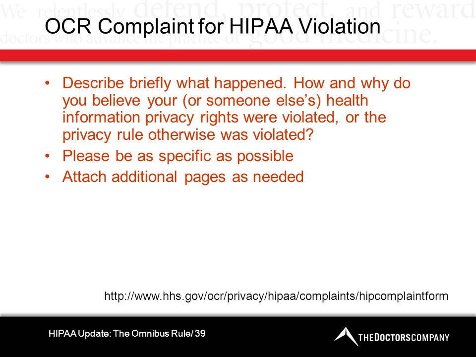 OCR Complaint for HIPAA Violation Describe briefly what happened.