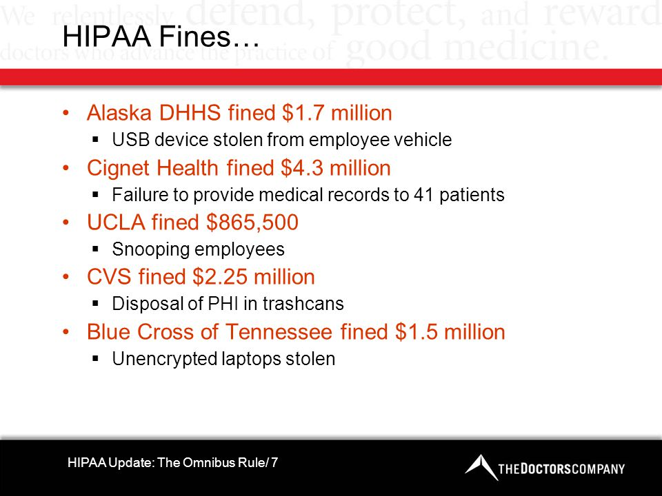 HIPAA Fines… Alaska DHHS fined $1.7 million  USB device stolen from employee vehicle Cignet Health fined $4.3 million  Failure to provide medical re