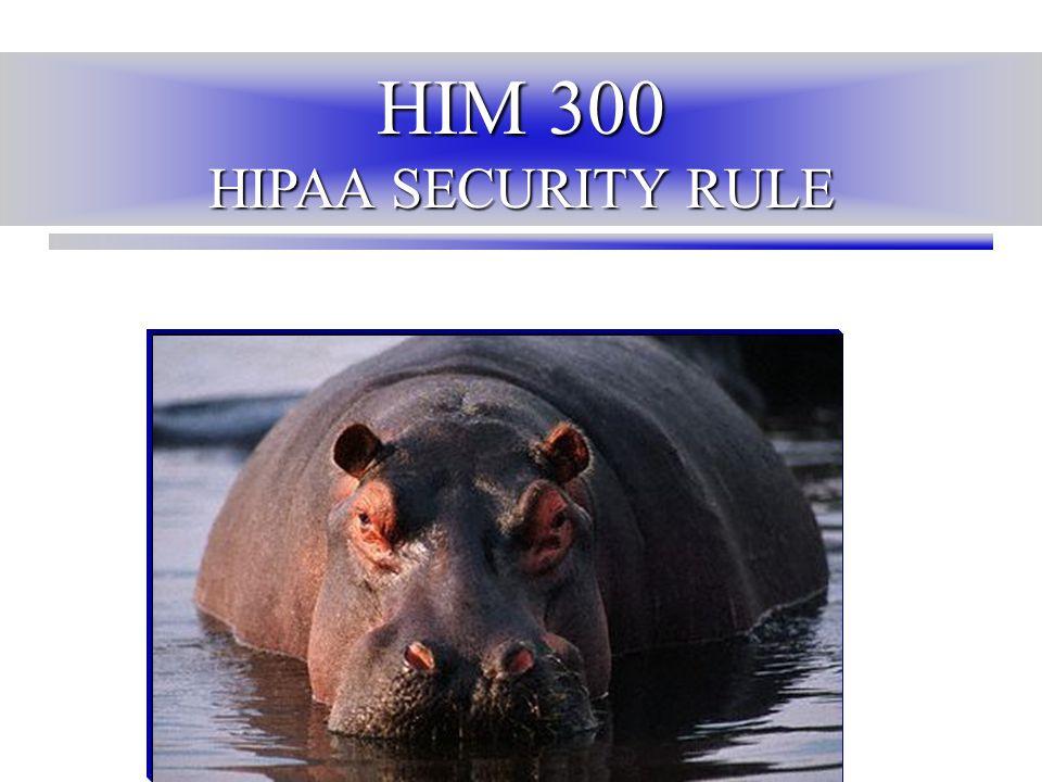 HIM 300 HIPAA SECURITY RULE