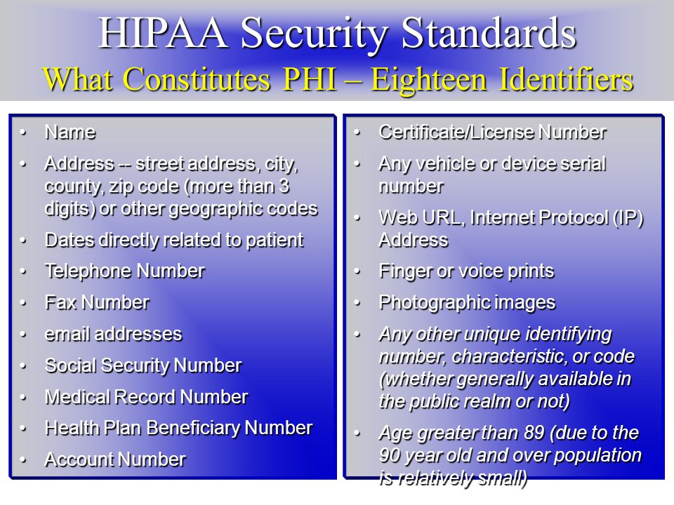 HIPAA Security Standards What Constitutes PHI – Eighteen Identifiers NameName Address -- street address, city, county, zip code (more than 3 digits) or other geographic codesAddress -- street address, city, county, zip code (more than 3 digits) or other geographic codes Dates directly related to patientDates directly related to patient Telephone NumberTelephone Number Fax NumberFax Number email addressesemail addresses Social Security NumberSocial Security Number Medical Record NumberMedical Record Number Health Plan Beneficiary NumberHealth Plan Beneficiary Number Account NumberAccount Number Certificate/License NumberCertificate/License Number Any vehicle or device serial numberAny vehicle or device serial number Web URL, Internet Protocol (IP) AddressWeb URL, Internet Protocol (IP) Address Finger or voice printsFinger or voice prints Photographic imagesPhotographic images Any other unique identifying number, characteristic, or code (whether generally available in the public realm or not)Any other unique identifying number, characteristic, or code (whether generally available in the public realm or not) Age greater than 89 (due to the 90 year old and over population is relatively small)Age greater than 89 (due to the 90 year old and over population is relatively small)