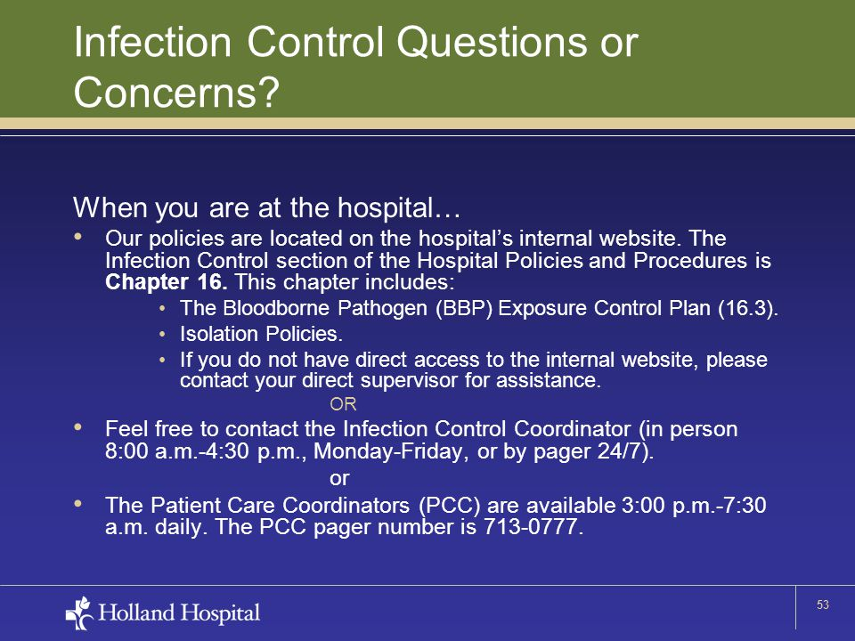 53 Infection Control Questions or Concerns.