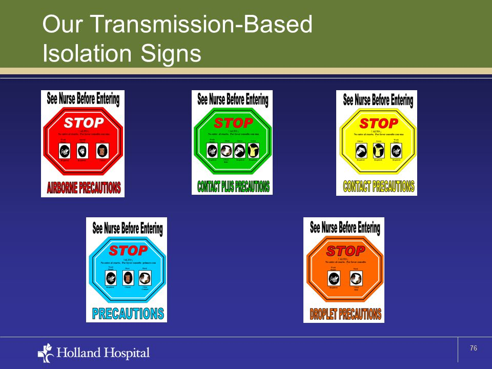 76 Our Transmission-Based Isolation Signs