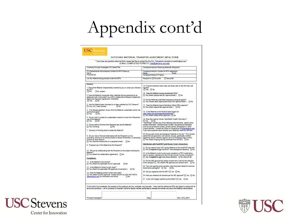 Appendix cont'd