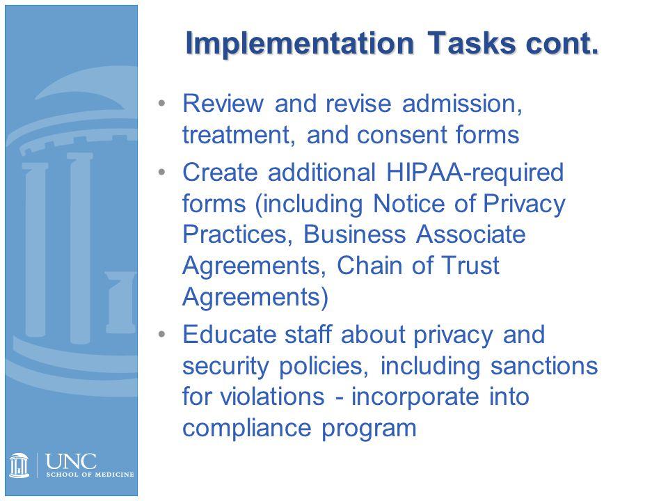 Implementation Tasks cont.
