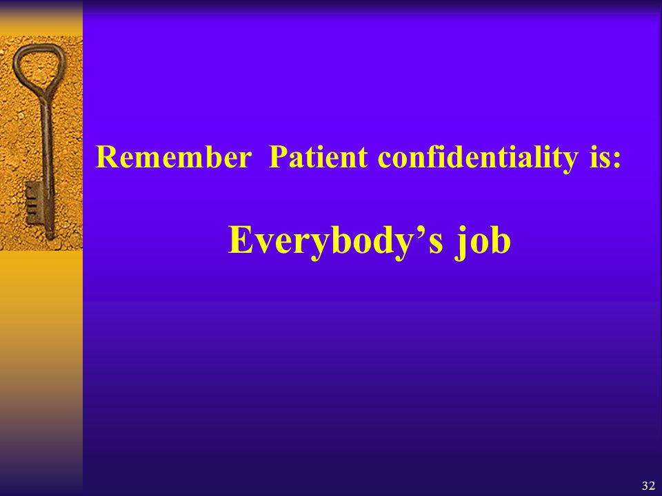 32 Remember Patient confidentiality is: Everybody's job
