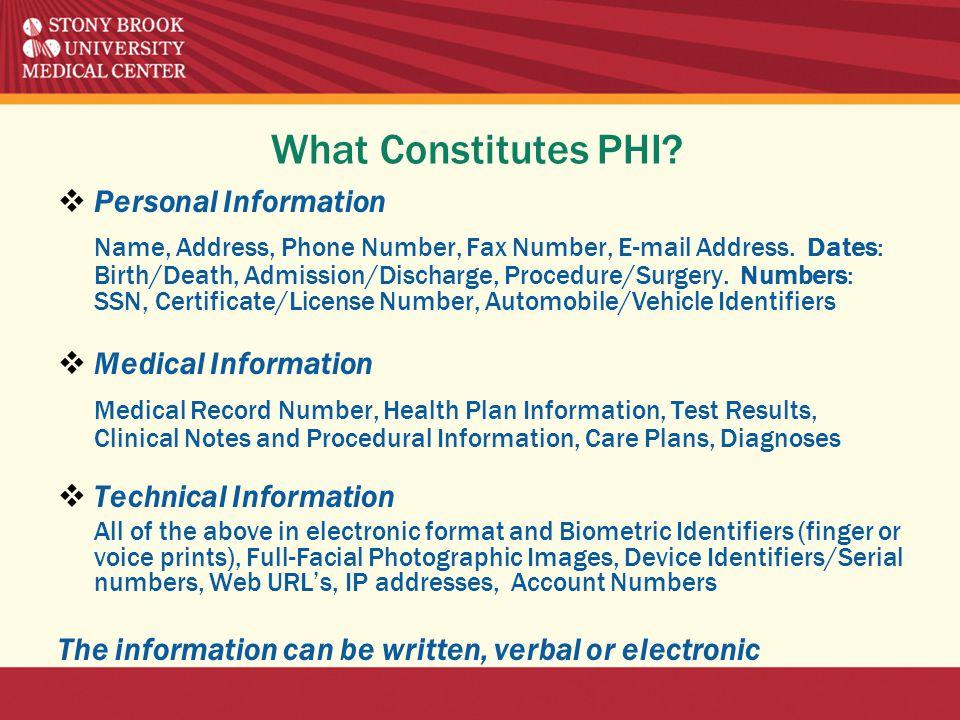 What Constitutes PHI.