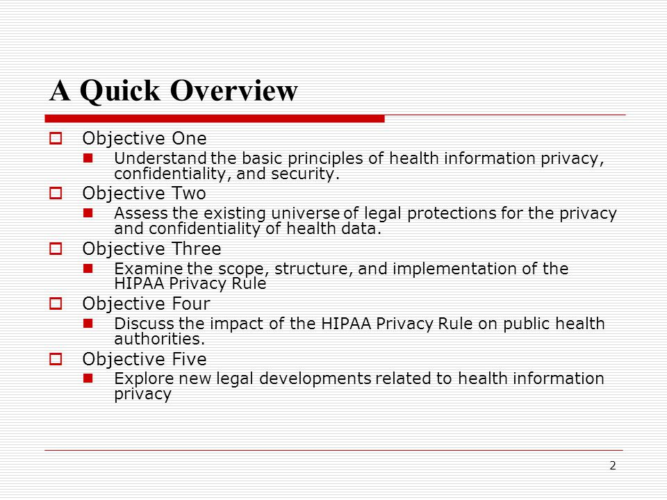 2 A Quick Overview  Objective One Understand the basic principles of health information privacy, confidentiality, and security.