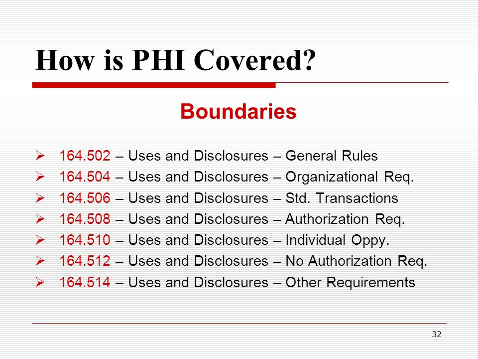 32 How is PHI Covered.