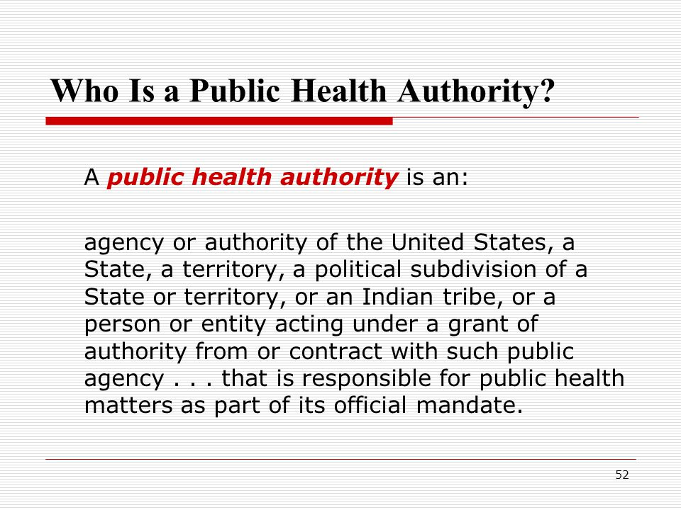 52 Who Is a Public Health Authority.