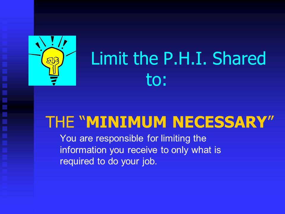 Limit the P.H.I.