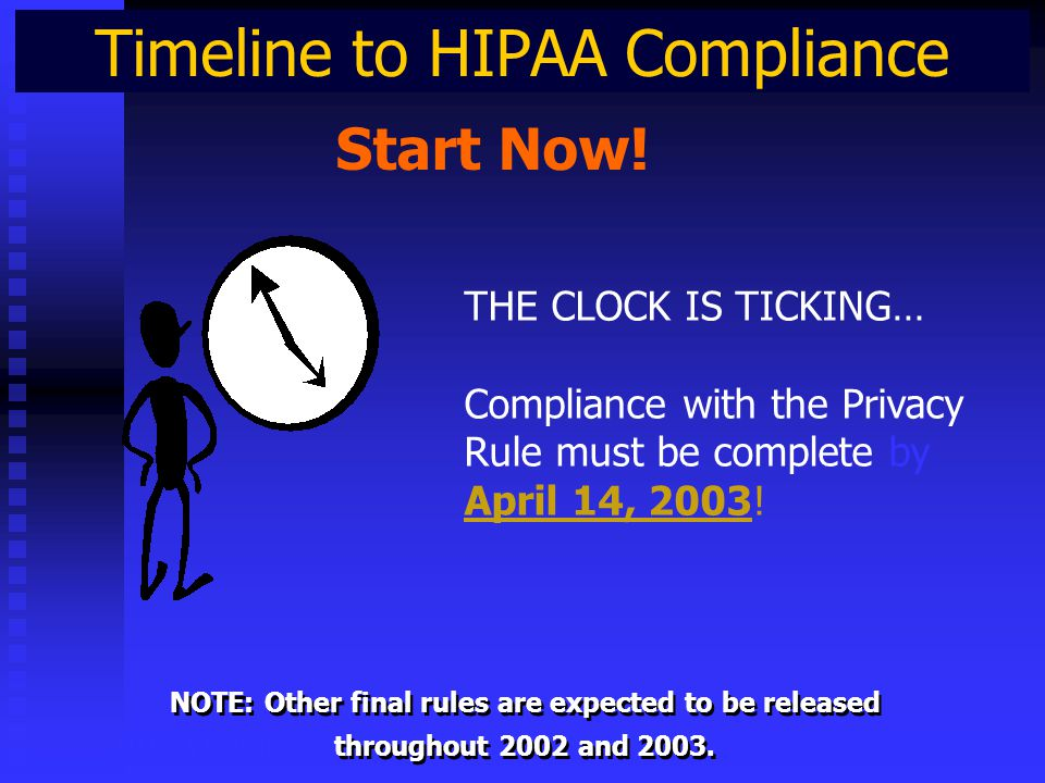 Timeline to HIPAA Compliance HIPAA Privacy Start Now.