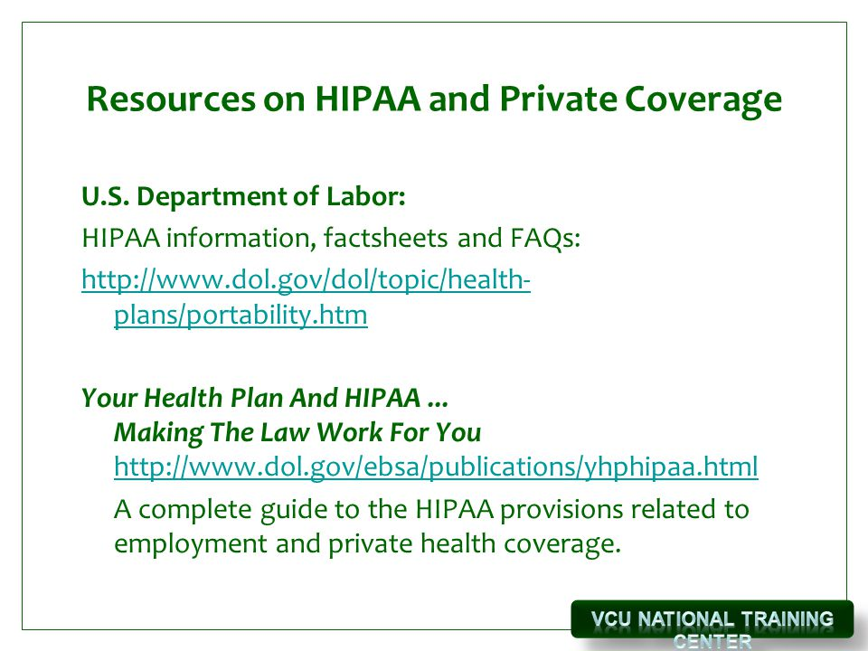 Resources on HIPAA and Private Coverage U.S.