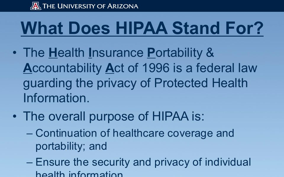 What Does HIPAA Stand For.