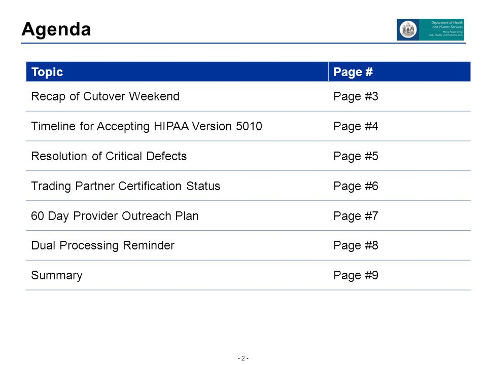 - 2 - Agenda TopicPage # Recap of Cutover WeekendPage #3 Timeline for Accepting HIPAA Version 5010Page #4 Resolution of Critical DefectsPage #5 Tradin