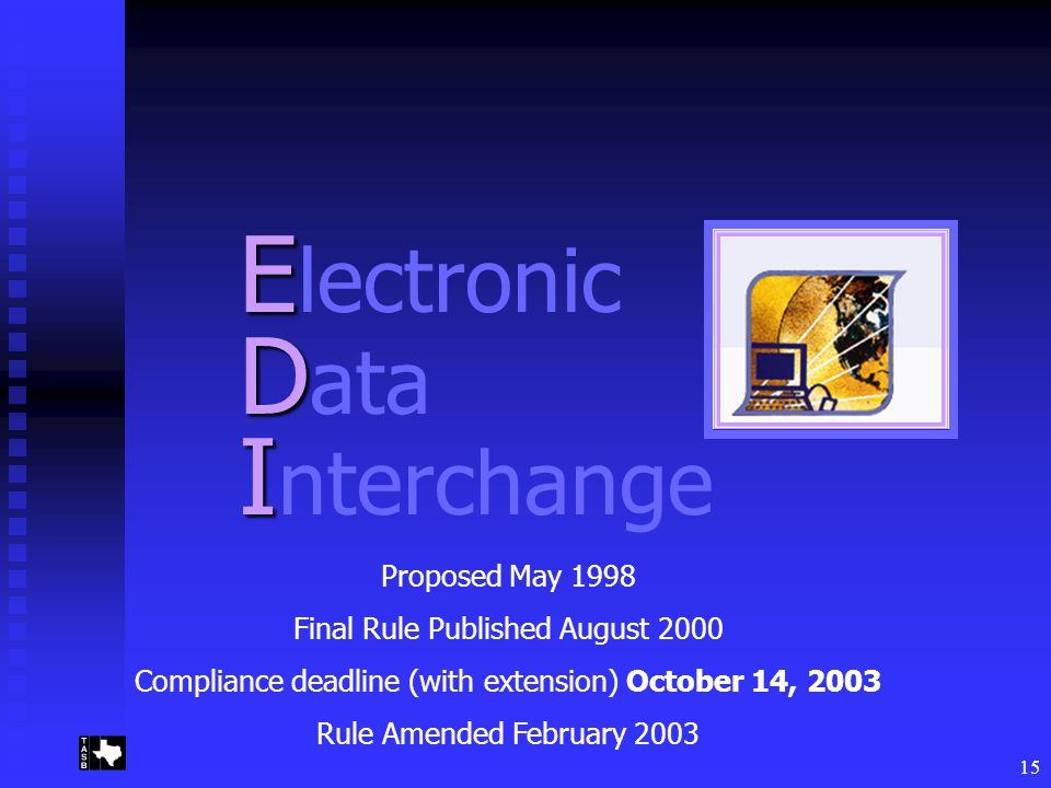 15 E E lectronic D D ata I I nterchange Proposed May 1998 Final Rule Published August 2000 Compliance deadline (with extension) October 14, 2003 Rule Amended February 2003