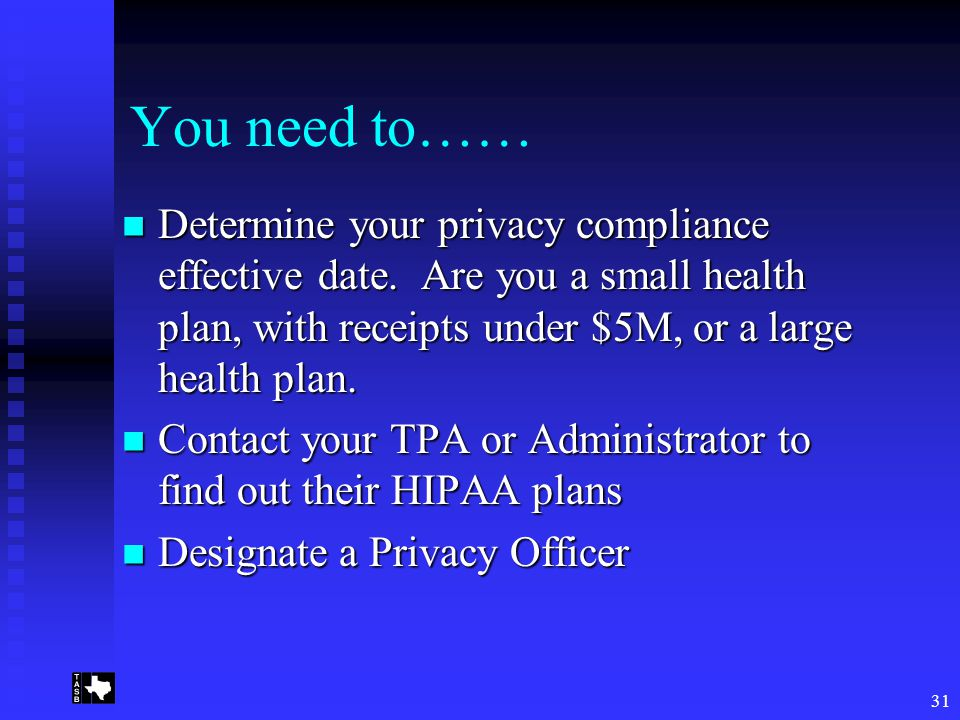 31 You need to…… Determine your privacy compliance effective date.