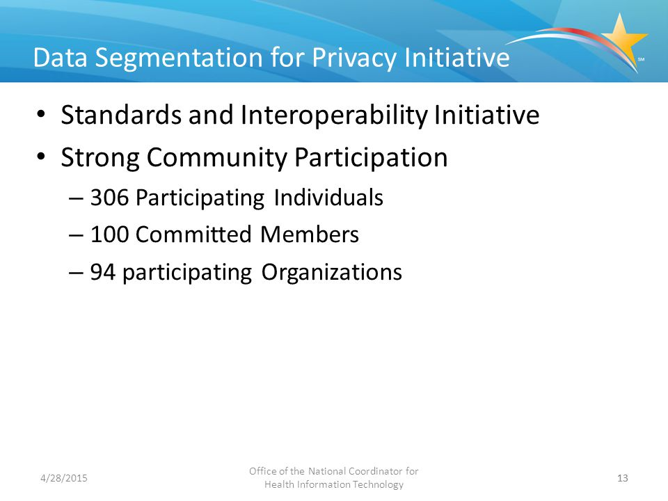 Office of the National Coordinator for Health Information Technology 13 Data Segmentation for Privacy Initiative Standards and Interoperability Initia
