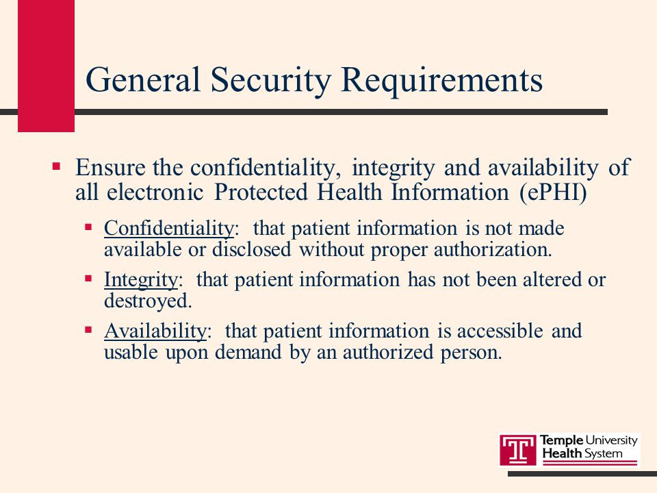 Security Rule  Focuses on Safeguarding electronic Protected Health Information (ePHI)