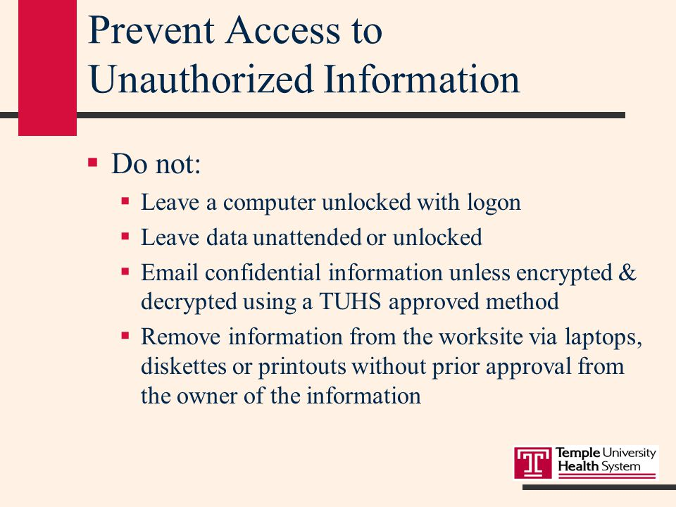 Information Management  PC users at work are not to:  Use, acquire, transmit, or duplicate unauthorized software.