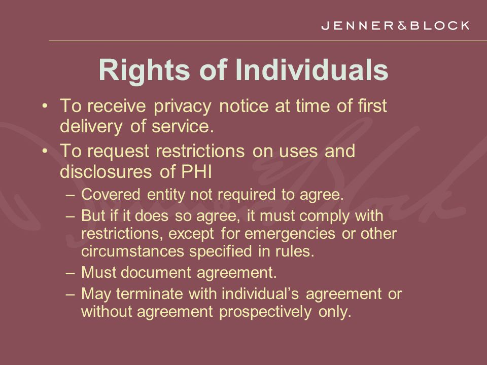 Rights of Individuals To receive privacy notice at time of first delivery of service.