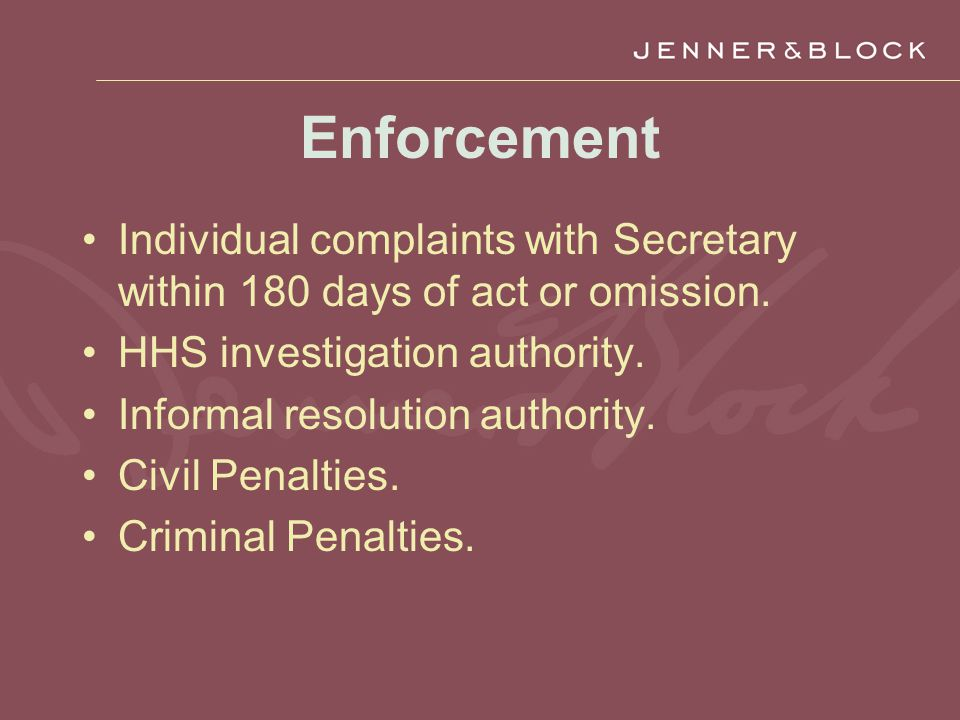 Enforcement Individual complaints with Secretary within 180 days of act or omission.