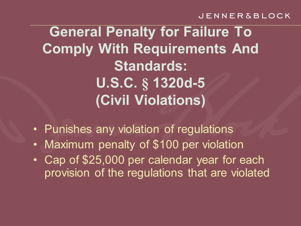 General Penalty for Failure To Comply With Requirements And Standards: U.S.C.