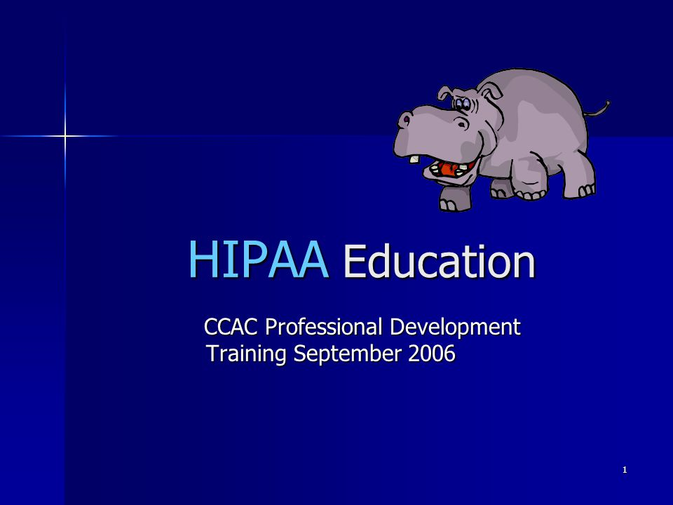 1 HIPAA Education CCAC Professional Development Training September 2006 CCAC Professional Development Training September 2006