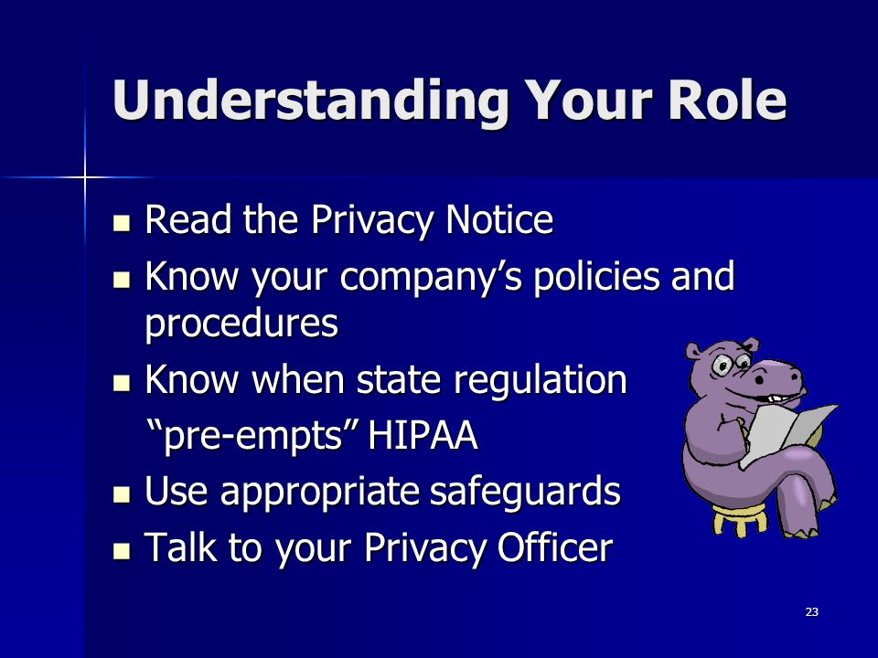 23 Understanding Your Role Read the Privacy Notice Read the Privacy Notice Know your company's policies and procedures Know your company's policies an
