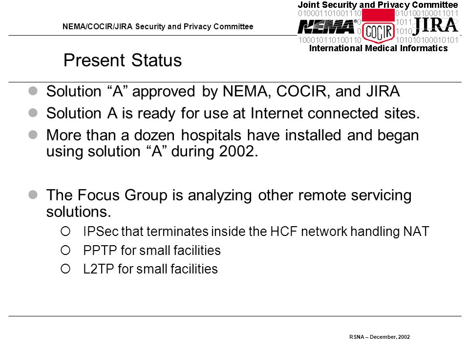 NEMA/COCIR/JIRA Security and Privacy Committee RSNA – December, 2002 Present Status Solution A approved by NEMA, COCIR, and JIRA Solution A is ready for use at Internet connected sites.
