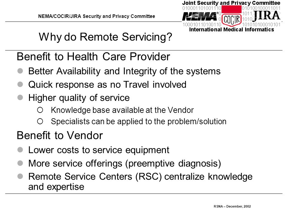 NEMA/COCIR/JIRA Security and Privacy Committee RSNA – December, 2002 Why do Remote Servicing.