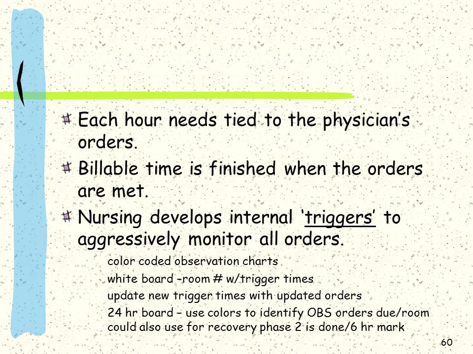 60 Each hour needs tied to the physician's orders.