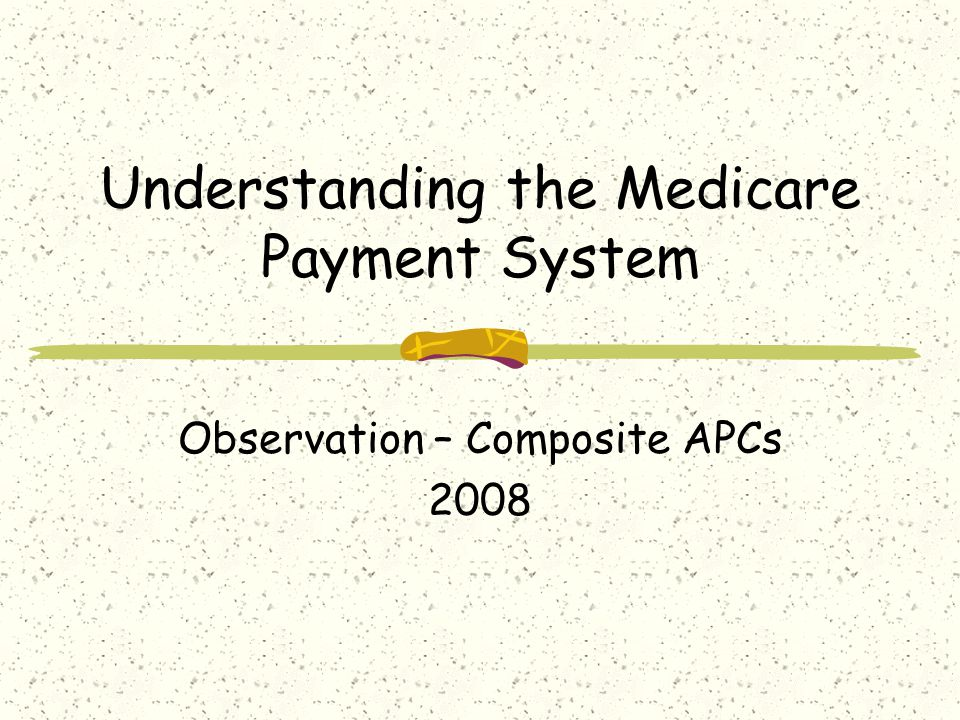 Understanding the Medicare Payment System Observation – Composite APCs 2008