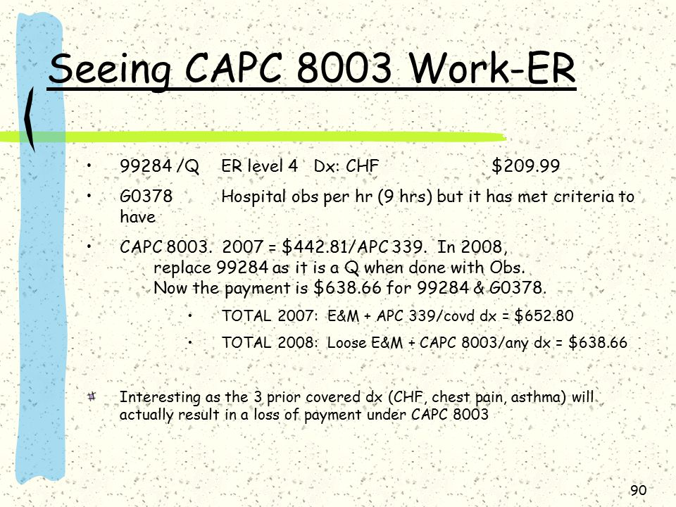 Seeing CAPC 8003 Work-ER 99284 /QER level 4 Dx: CHF$209.99 G0378Hospital obs per hr (9 hrs) but it has met criteria to have CAPC 8003.