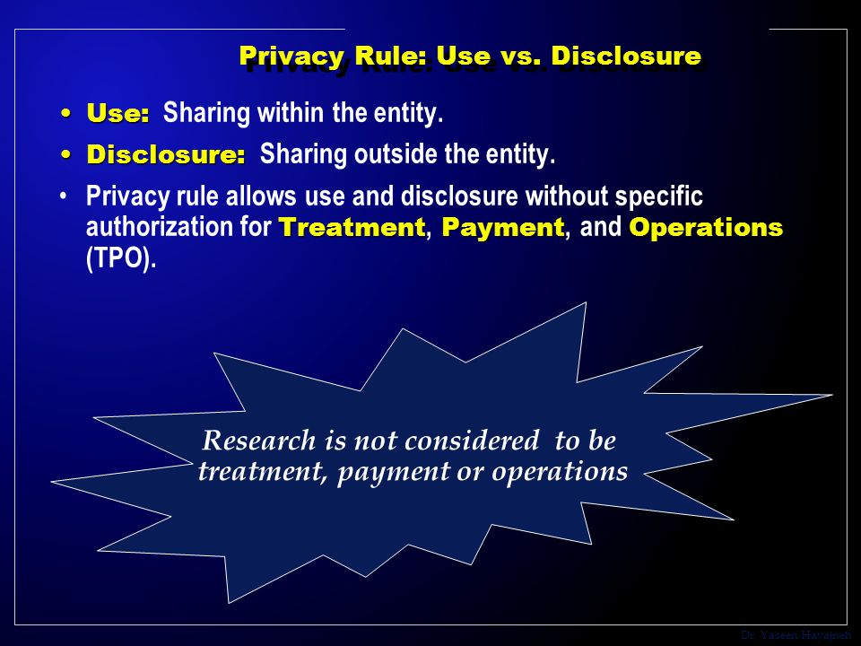 Dr. Yaseen Hayajneh Privacy Rule: Use vs. Disclosure Use:Use: Sharing within the entity.